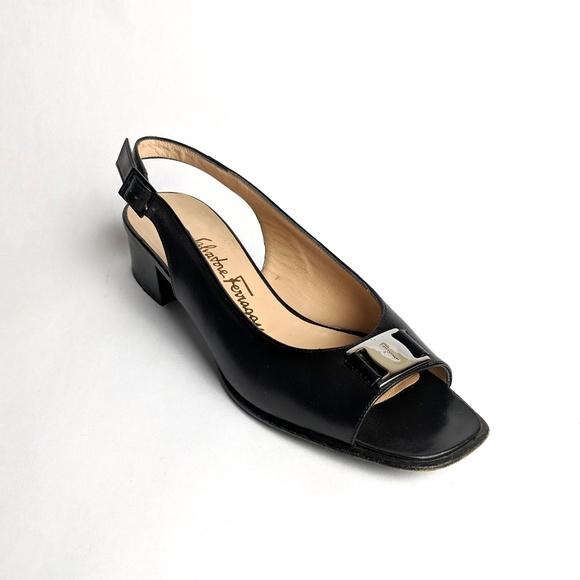 75fc125e22721 SALVATORE FERRAGAMO Black Peep Toe Slingback Flats